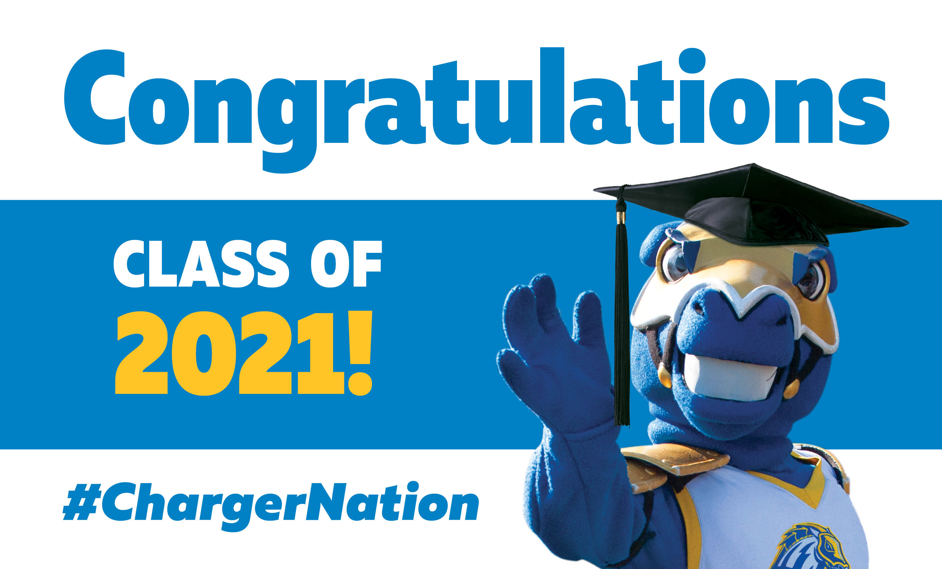 Image of a digital commencement congratulations sign