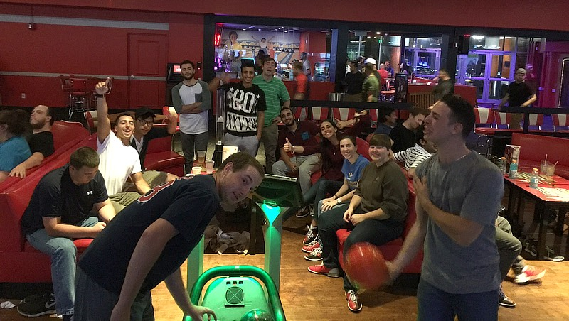 Dr. Chang's students at bowling alley.
