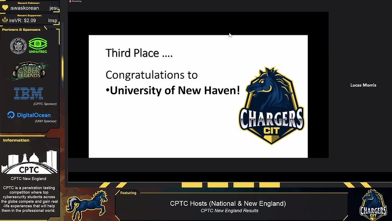 Image of zoom call announcing New Haven got third place.