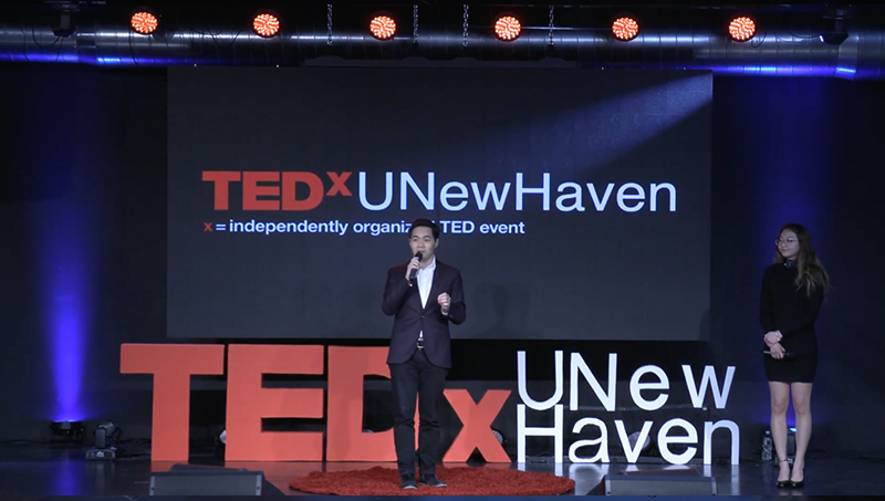 Alice Yi '22 and Alvin Tran, Sc.D., MPH, cohosted TEDxUNewHaven.