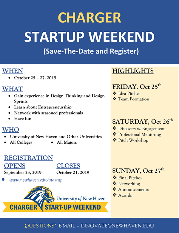 Charger Startup Weekend flyer