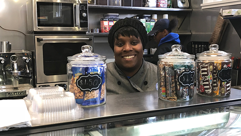 Image of Voniettee Jacobs-Haynes '19 is the general manager of the Hazell Nut Café.