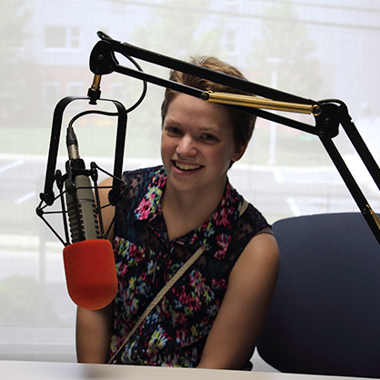 An image of Rebecca Satzberg, a student in the Music and Sound Recording program. Our program will provide her with a musical engineering education.